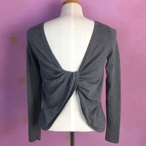 AERIE TWIST BACK CASHMERE BLEND GRAY SWEATER XS
